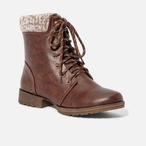 JustFab Brown Sweater Cuff Lace Up Combat Boot